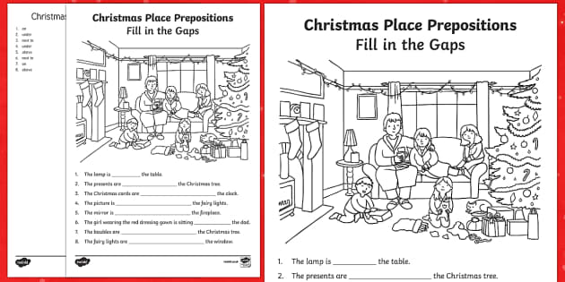Place Prepositions Fill in the Gaps Activity Sheet