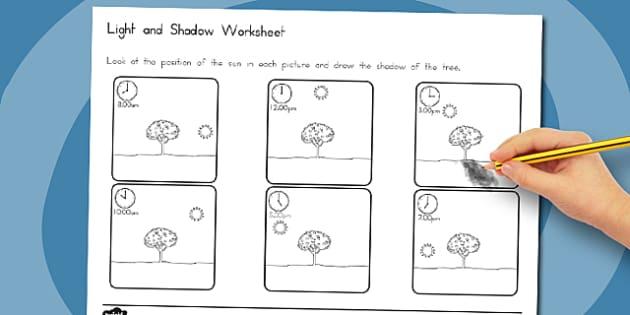 Light and Shadow Worksheet - australia, light, shadow, worksheet