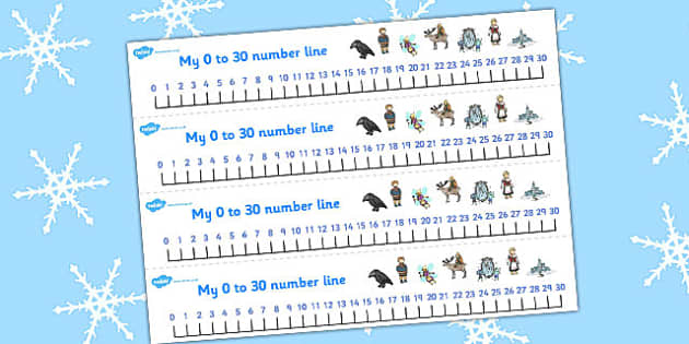 The Snow Queen Number Lines 0-30 - maths, numeracy, numbers, aids
