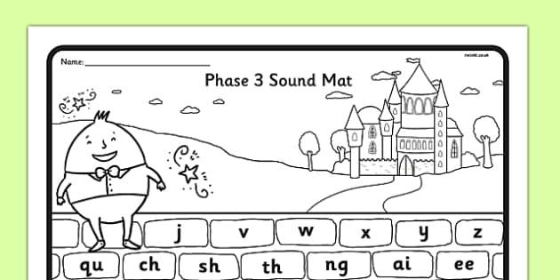 Humpty Dumpty Themed Phase 3 Sound Mat - humpty dumpty, phase 3, sound mat, phonics, letters, sounds