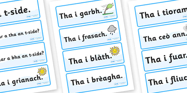 Scottish Gaelic Weather Labels - Scottish Gaelic Weather Labels, weather, labels, sign, signs, label, gaelic, Gaelic, Scottish, Scotland, Gaels, Celtic, language, old, season, weather, rain, sunshin, sun, cloudy, rainy, how is the weather, how's the