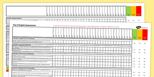 Australian Curriculum Year 4 English Assessment Spreadsheet - australia, curriculum, assessment