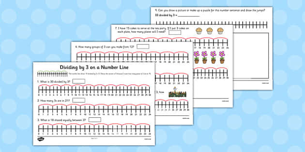 Multiplication and Division on a Number Line: Division by 3 on a Number Line