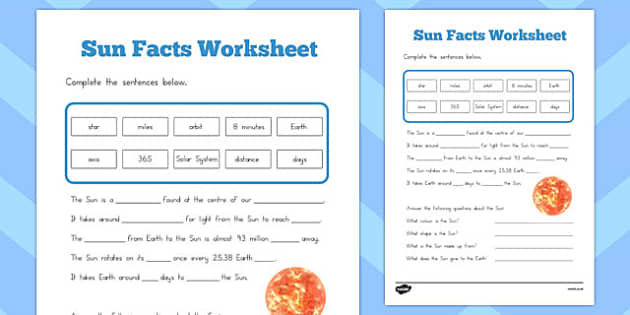 Sun Facts Worksheet - australia, sun facts, worksheet, sheet