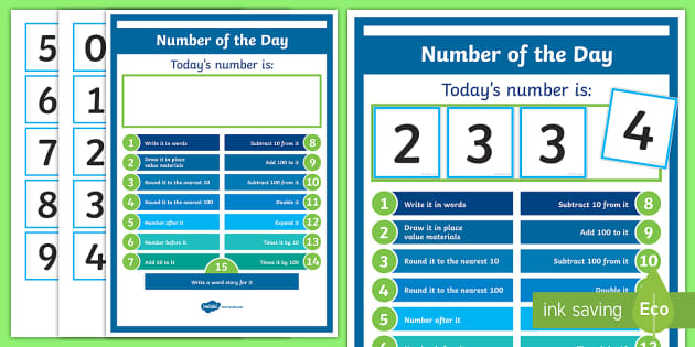 Number of the Day Display Poster - New Zealand Back to School, maths, challenge, numbers, double, place value, nz