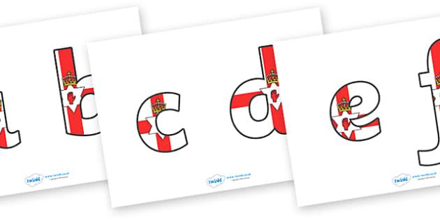 Northern Irish Flag Display Lettering (Lowercase) - Northern Irish, Flag, Northern Irish Flag, Northern Ireland, display lettering, display, lettering, lowercase, lower, alphabet