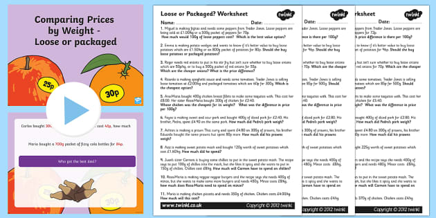 Comparing Prices By Weight Loose or Packaged Task Setter Powerpoint and Worksheets-compare, prices, weight, task setter, powerpoint, worksheets