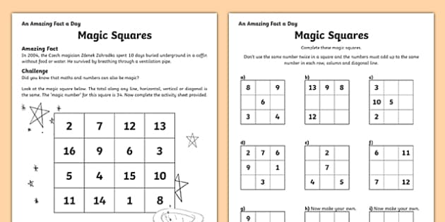 Squares Activity Sheet worksheet – Magic Squares Worksheet