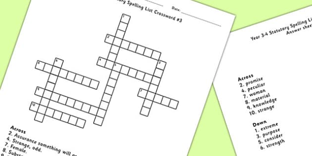 Year 3-4 Statutory Spelling List Crossword 3 - crossword, spell