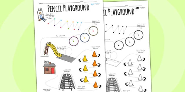Pencil Playground Worksheet - pencil, worksheet, pencil control