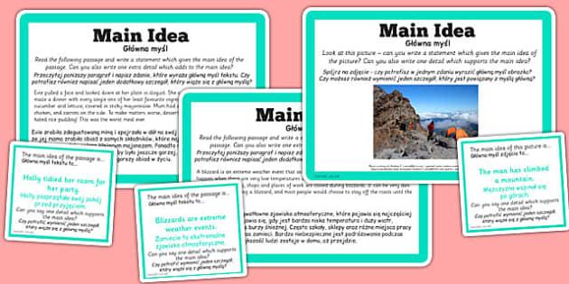 Guided Reading Skills Task Cards Main Idea Polish Translation - Poland, challenge cards, story