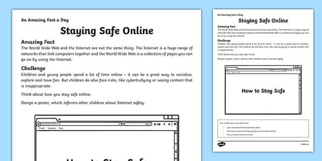 Staying Safe Online Activity Sheet - amazing fact a day, activity, activities, safe, online, worksheet
