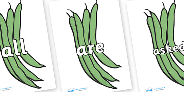 Tricky Words on Green Beans - Tricky words, DfES Letters and Sounds, Letters and sounds, display, words