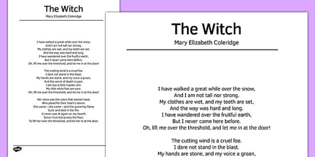 The Witch by Mary Elizabeth Coleridge Poem - poem, poetry, the witch