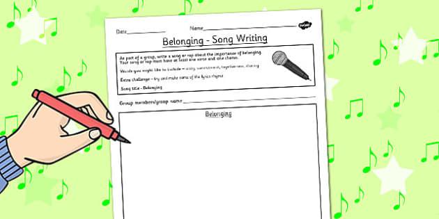 Belonging RE Song Writing Activity - religion, music, belong