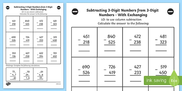 3 Digit Numbers from 3 Digit Number Worksheet Year 3 – Subtracting 3 Digit Numbers Worksheet