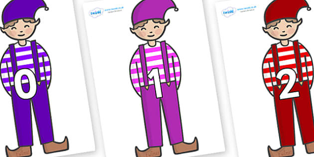 Numbers 0-31 on Elf (Boy) - 0-31, foundation stage numeracy, Number recognition, Number flashcards, counting, number frieze, Display numbers, number posters