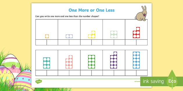 Given a number identify one more and one less New Page 3 – One More One Less Worksheets