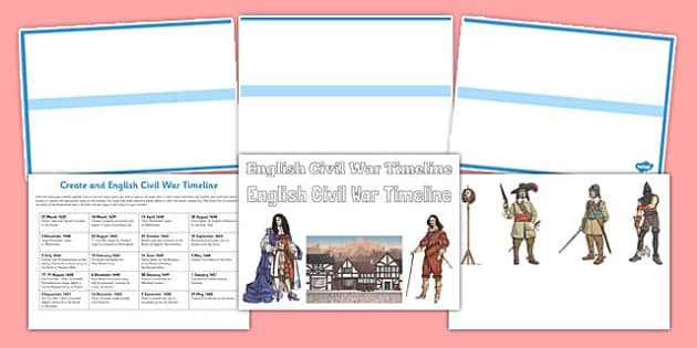 Create an English Civil War Timeline - Cromwell, Charles 1, Executed, Roundheads, Cavaliers