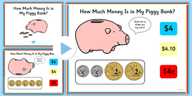 How Much Money Is in My Piggy Bank? PowerPoint Quiz Australia - australia, money, count