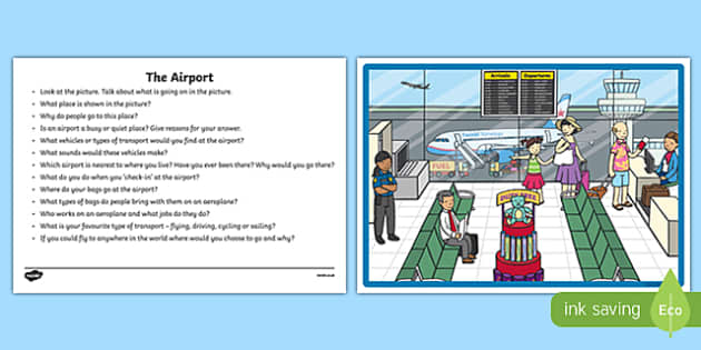 The Airport Oral Language  Activity Sheet-Irish, worksheet