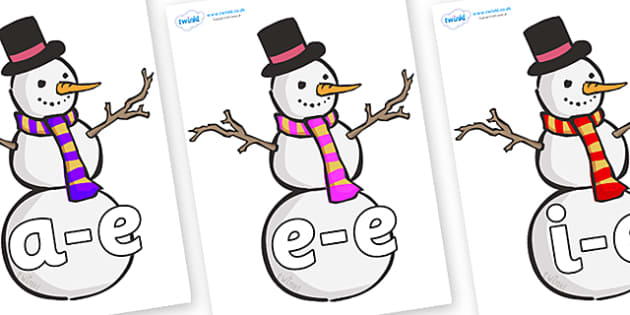 Modifying E Letters on Snowmen - Modifying E, letters, modify, Phase 5, Phase five, alternative spellings for phonemes, DfES letters and Sounds