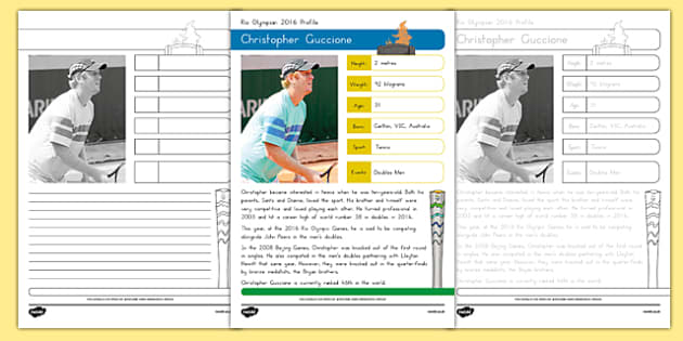 Australian Rio Olympian Christopher Guccione Handwriting Practice Activity Sheets-Australia, worksheet