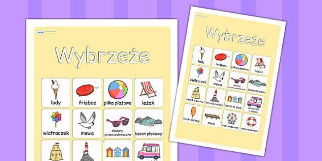Plakat ze slownictwem Wybrzeze po polsku - edukacja , Polish