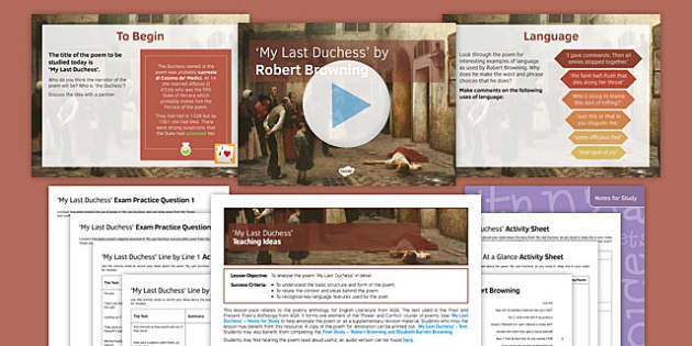 GCSE Poetry My Last Duchess Lesson Pack