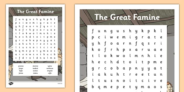 The Great Famine - Word Search - gaeilge, the famine, great famine, A34wordsearch, ireland history
