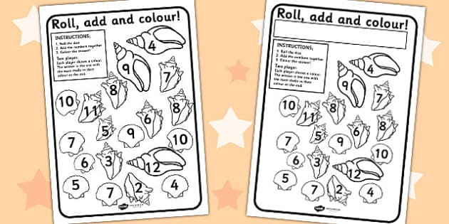 Shell Themed Roll and Colour Worksheet - shells, seaside, games