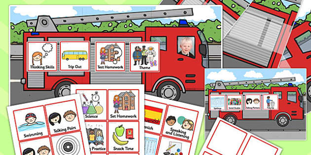 Fire Engine Themed Individual Visual Timetable Pack - fire engine