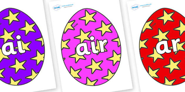 Phase 3 Phonemes on Easter Eggs (Stars) - Phonemes, phoneme, Phase 3, Phase three, Foundation, Literacy, Letters and Sounds, DfES, display