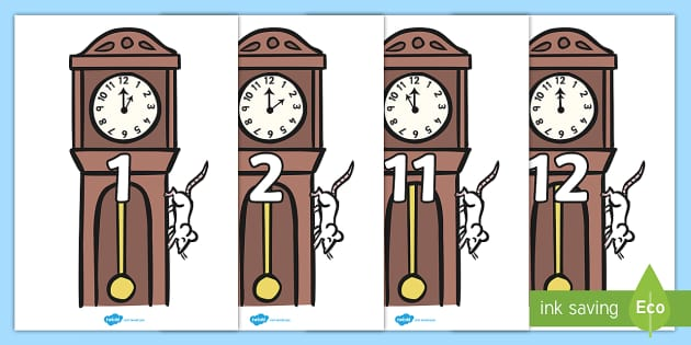 Hickory Dickory Dock Times On Clocks Posters - nursery rhymes