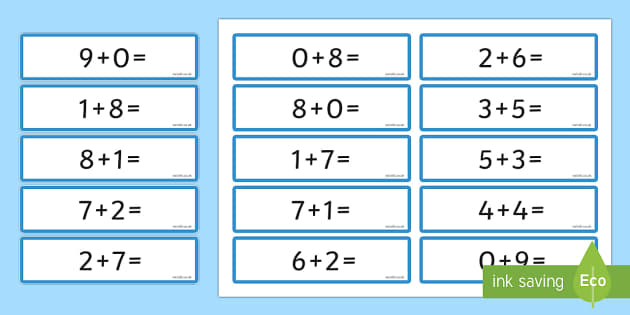 Number Bonds 8 and 9 Sentence Cards - number bonds, 8, 9, cards