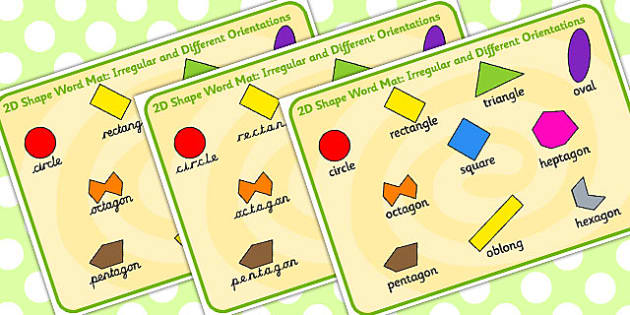 2D Shape Word Mat Irregular and Different Orientations - shapes