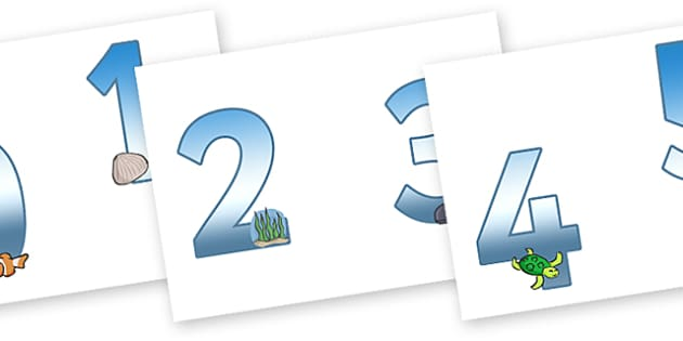 0-9 Display Numbers (Under the Sea) - Display numbers, 0-9, numbers, display numerals, Under the Sea, Sea, display lettering, display numbers, display, cut out lettering, lettering for display, display numbers
