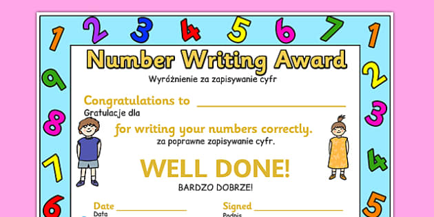 Number Writing Award Certificate Polish Translation - polish, number, writing, award, certificate