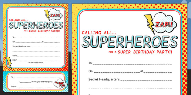 Superhero Themed Birthday Party Invitations - birthdays, parties
