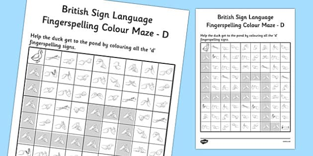 British Sign Language Fingerspelling Colour Maze D - colour, maze
