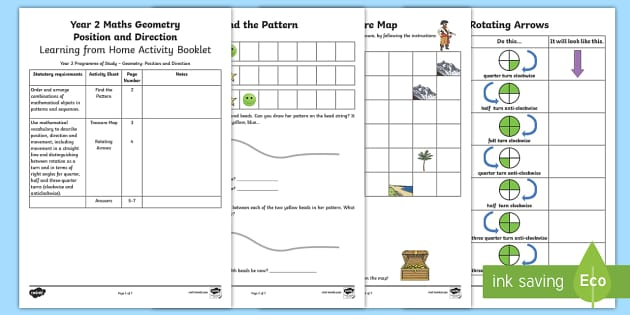 Year 2 Maths Geometry: Position and Movement Home Learning Activity Booklet - maths,  year 2, worksheets, geometry, position, direction, home, parents, support, workbook, homewor