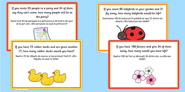 Addition and Subtraction to 100 Word Problem Challenge Cards Romanian Translation - romanian, addition, subtraction, maths
