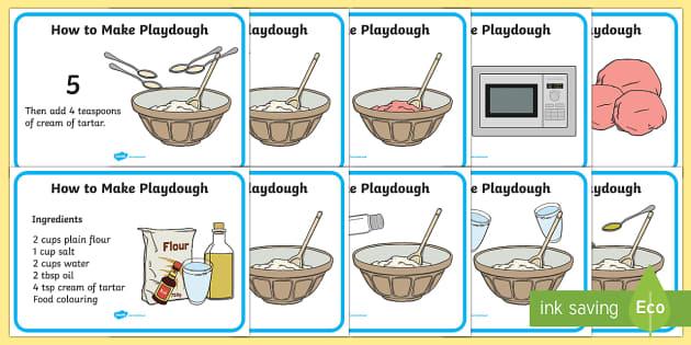 Playdough Recipe A4 Display Posters - Playdough, recipe, display, poster, A4, making playdough, recipe card, how to make playdough