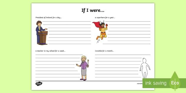 If I Were... Reflection Writing Template - If I were, dreams, reflection, writing template, S.P.H.E., creative writing