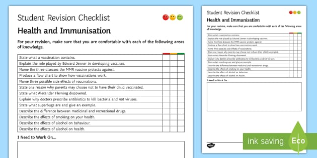 Health and Immunisation Student Revision Checklist - Student Progress Sheet (KS3), health, immunisation, vaccination, MMR, Edward Jenner