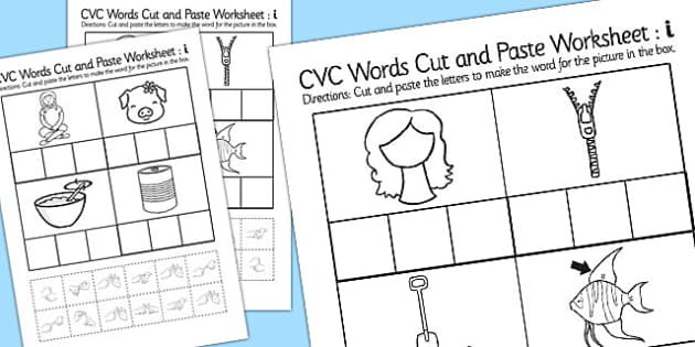 CVC Words Cut and Paste Worksheets i with British Sign Language