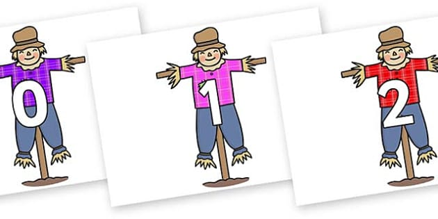 Numbers 0-50 on Scarecrows - 0-50, foundation stage numeracy, Number recognition, Number flashcards, counting, number frieze, Display numbers, number posters