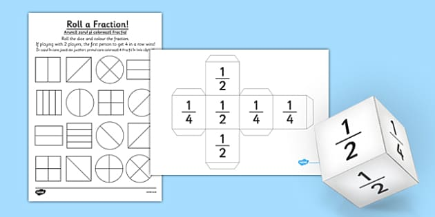 Year 1 Roll a Fraction Activity Sheet Romanian Translation - romanian, activities, fractions, worksheet