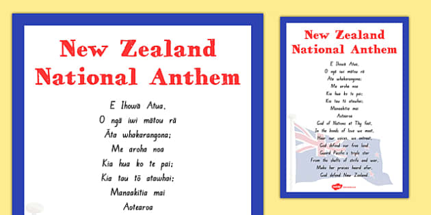 New Zealand National Anthem Poster - nz, new zealand, national anthem, poster, display poster