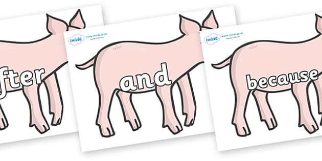 Connectives on Piglets - Connectives, VCOP, connective resources, connectives display words, connective displays
